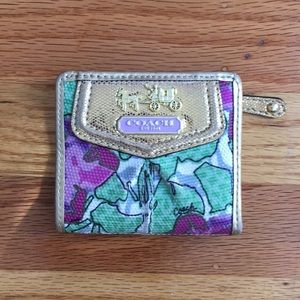 Coach gold and floral wallet
